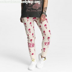 Women Sweat Pant Allover Skull in beige l01y9ZKn