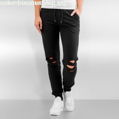 Women Sweat Pant Cutted Terry in black NKJBQfqM