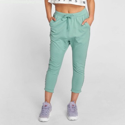 Women Sweat Pant Open Edge Terry Turn Up in turquoise JfWjJXlj