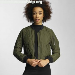 Women Bomber jacket Diamond Quilt Short in olive mX95n8oW