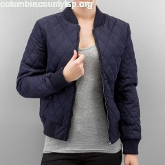 Women College Jacket Diamond Quilt Nylon in blue AxFGSZKB