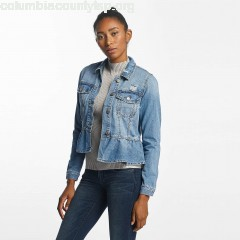 Women Lightweight Jacket vmMerny Ruffle Denm in blue mkNIcRVc
