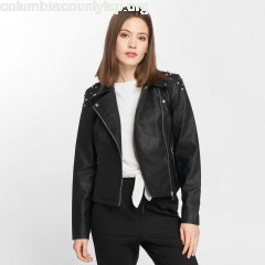 Women Leather Jacket nmCora in black EQKDhHc4