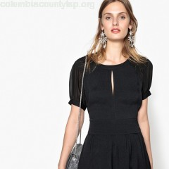 Cinched-waist dress with open back, black, See U Soon 8s9Yy2jR