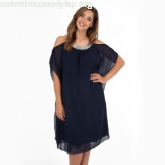 Cold shoulder dress with jewelled detail, navy blue, Koko By Koko TWyJ4iKb
