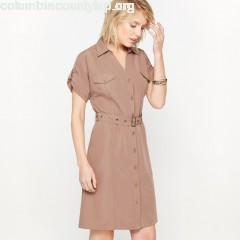 Draped dress, brown, Anne Weyburn   9BgvzEio