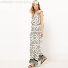 Draping printed maxi dress, white, Collections tHwArcFc