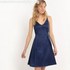Dress with shoestring straps and pretty back, navy blue, Mademoiselle c4nvtrW1