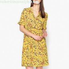 eset printed wrapover dress, yellow print, Toupy pASBhCrZ