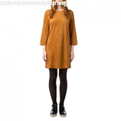 Faux suede shift dress, camel, Best Mountain   NNJYci5W