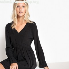 Flared dress with embroidery, black, Sud Express AE0V1caW
