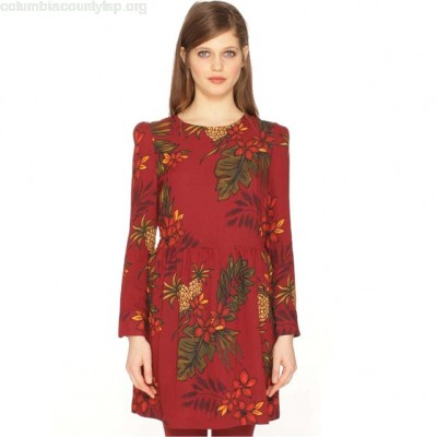 Floral print dress, printed burgundy, Pepaloves mwM0UlF5