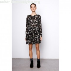 Floral print dress with ruffles, black with print, Compania Fantastica   m43mN1eK