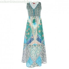 Floral print midi shift dress, turquoise blue/printed, ene Derhy   ZaJPpLTg