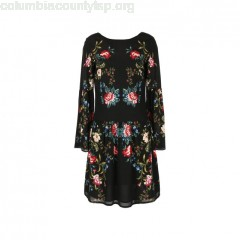 Floral printed dress with lace detail, black with print, ene Derhy   lvhDJ3kk