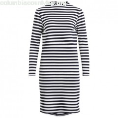 High neck striped dress, navy striped/white, Vila   3KeyBCDT