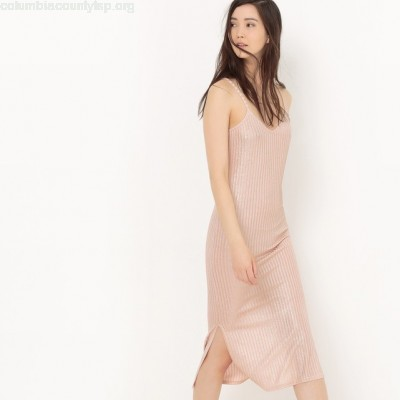 ibbed dress with shoestring straps Collections FpW8ULFV