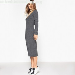 ibbed knitted dress, grey, Collections   hPABteFl