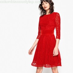 Lace skater dress, red, Mademoiselle    QH5ZrHdU