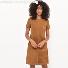 Leather shift dress, camel, Collections xpeFHQ5c