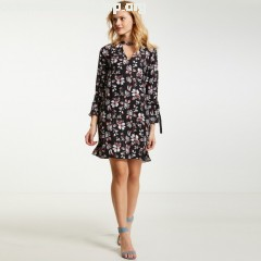Long straight floral print dress, black print, Morgan   kEeckm9F