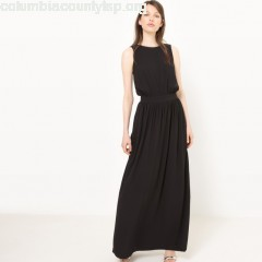 Maxi dress with low cut back, plain black, Mademoiselle    rLTreDV5