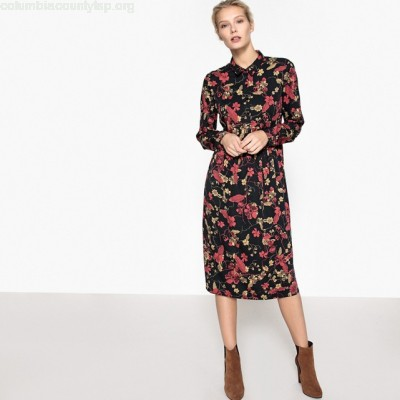 Midi shirt dress with floral print, red print/black, Collections rdpBW3kM