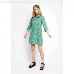 Mini dress with 3/4 length sleeves, green/print, Compania Fantastica 3pUpAU7g