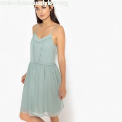 Plain mini shift dress with shoestring straps, grey-green, Sud Express   P85x6d7a