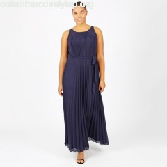 Pleated maxi dress with tie wasit, navy, Lovedrobe   CRMepjEo