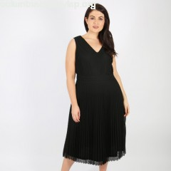 Pleated openwork lace dress, black, Lovedrobe   4sz4n17d