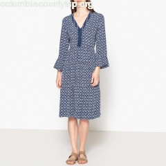 Printed flared dress with ruffle trim, navy blue, Stella Forest   JKDEpMxC