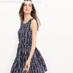 Printed sleeveless dress, navy blue, Best Mountain   ehaPpkmt