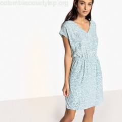 Short-sleeved mini shift dress, light blue print, Sud Express   XRHnz2Iw