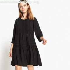 Smock dress with pleats, black, See U Soon   fJmhX4Xa