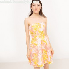 Strapless exotic print jacquard dress with back bow, pink jacquard, Mademoiselle uRAseYFi