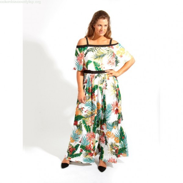 ebbaded9aaa Tropical print cold shoulder maxi dress