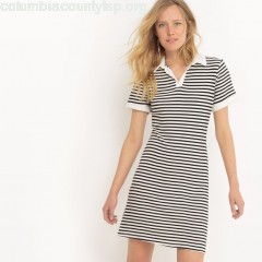 Two-tone striped dress with polo collar, black striped/white, Collections   Xnd1YKWJ
