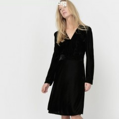 V-neck velour dress, black, Collections   SJvQ4aK5