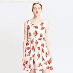 Watermelon print dress, white print/red, Migle+Me   Tsz3IVwo