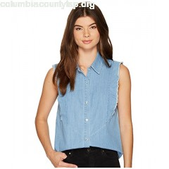 7 For All Mankind Sleeveless Ruffled Denim Shirt in Skyway Authentic Blue zwKs7uNi