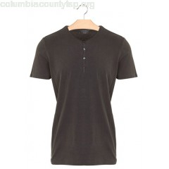 New collection HENLEY-COLLAR BUTTONED REGULAR COTTON T-SHIRT 075. NOIR HAND DYED MAJESTIC MEN FJ2VrrM1