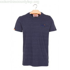 New collection MOTTLED ROUND-NECK T-SHIRT ATLANTIC NAVY GRIT SUPERDRY MEN 0IT26mrb