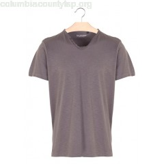 New collection REGULAR-FIT BUTTONED V-NECK COTTON T-SHIRT PLOMB BEST MOUNTAIN MEN ma18ellv