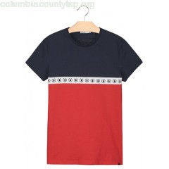 New collection REGULAR-FIT ROUND-NECK COLORBLOCKED COTTON T-SHIRT BLEU MARINE BIZZBEE MEN WJlHx79l