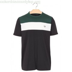 New collection REGULAR-FIT ROUND-NECK COTTON T-SHIRT WITH CONTRASTING STRIP BLACK FRED PERRY MEN GwiVUgOP