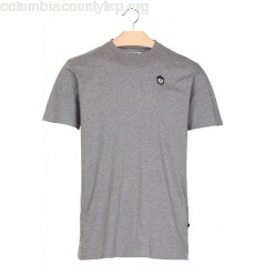 New collection REGULAR-FIT ROUND-NECK COTTON T-SHIRT WITH EMBROIDERED PATCH HEATHER GREY LOREAK MEN 6ysae02t