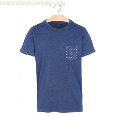 New collection REGULAR-FIT ROUND-NECK COTTON T-SHIRT WITH PRINTED POCKET INDIGO BEST MOUNTAIN MEN uGsTL0IA