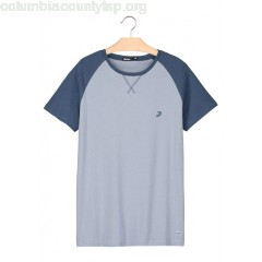 New collection REGULAR-FIT ROUND-NECK COTTON T-SHIRT WITH RAGLAN SLEEVES BLEU GRISE BIZZBEE MEN Ovy0zwHg
