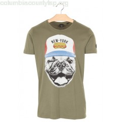 New collection REGULAR-FIT ROUND-NECK COTTON T-SHIRT WITH SCREEN PRINT ARMY LE TEMPS DES CERISES MEN GCdVrFKV